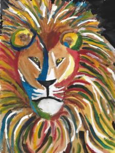 Image of male lion paint title roar