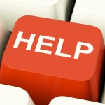 Help Computer Button Showing Assistance Support Or Answers