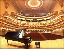 carnegie hall stage with piano