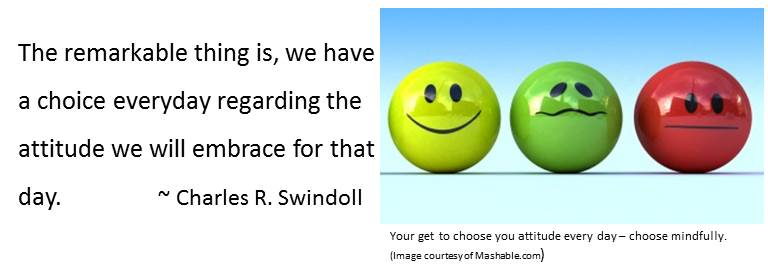 You get to choose your attitude every day – choose mindfully for well-being. Image of three attitudes hapy, uuncertain, indifferent