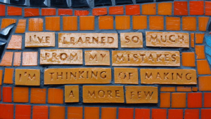 Tile wall with message