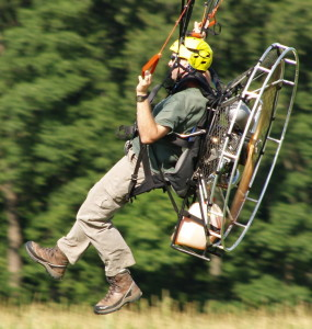 Man in personal flying machine as an example of being totall authentically you