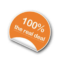 orange stick with 100% real deal printed on it