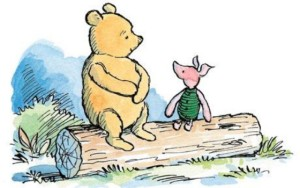 Image of Winnie the Pooh andPiglet living in the moment