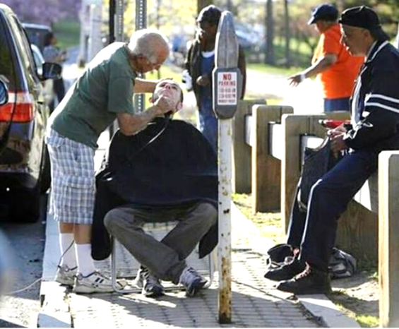 Anthony Cymerys is a barber. He's 82 year old. Every Wednesday, he brings his chair, his clippers and a car battery to power the clippers to a local park in Hartford, CT. He gives haircuts to the homeless. He doesn't charge them a penny. All they have to do is give him a hug.